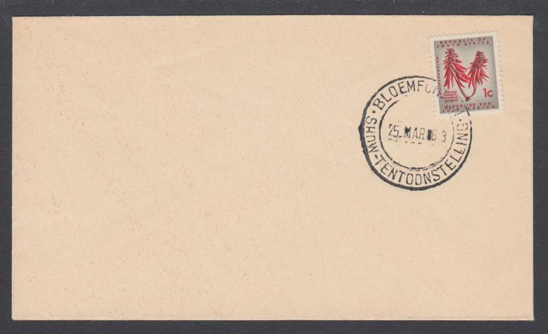 South Africa Sc 255 on 1963 Bloemfontein Show cover, unaddressed. Flower.