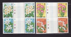 Tuvalu 92-95 Gutter Pairs Set MNH Flowers (C)