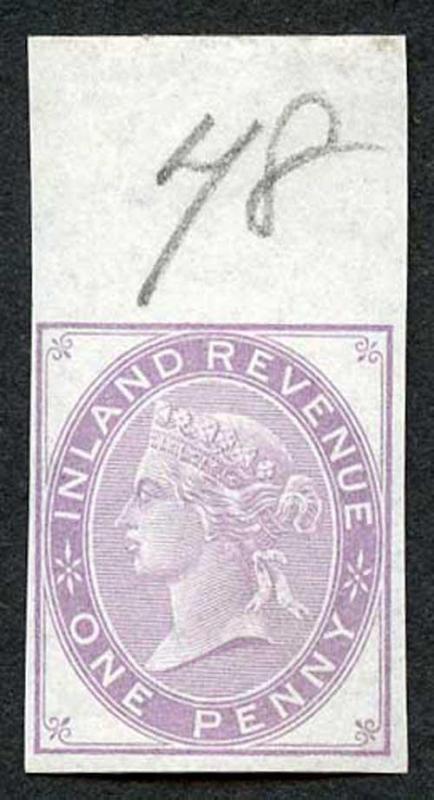 1d Lilac Postal Fiscal SGF20-22 Imprimatur Plate 78