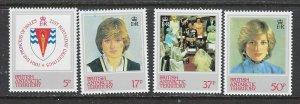 British Antarctic Terr 92-95 MNH 1982 Princess Diana (ap6997)