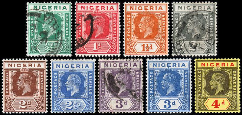 Nigeria Scott 18-20, 21a, 23-26, 27a (1923-32) Mint/Used H VF, CV $35.40