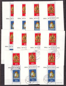 Z725 JLstamps 11 1973 germany s/s mnh 3 nh cancelled w/gum #b502 posthouse signs