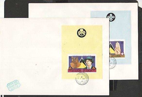 St. Lucia, Scott cat. 823-824 A. Boy & Girl Scout s/sheets. 2 First day covers