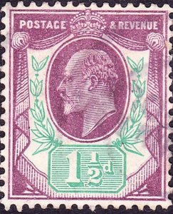GREAT BRITAIN 1912 KEDVII 1.5d Slate Purple & Green SG289 Used