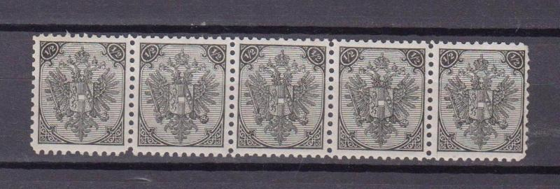OLD AUSTRIA BOSNIA II PLATE 1/2 kr STRIP of 5 perf. 10,5 PERFECT MINT ATTRACTIVE