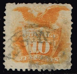 US STAMP #116 – 1869 10c Shield and Eagle, yellow Pictorial Issue USED