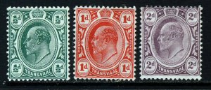 TRANSVAAL King Edward VII 1905-09 New Colours Group SG 273 to SG 275 MINT