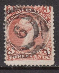 Canada #25 Used With Ideal 2 Ring 6 Cancel