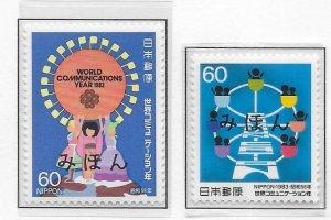 Japan 1551-52 World Communications Year set MIHON MNH