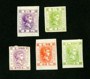 Italy Stamps VF OG Scarce Color Trial Proofs Set of 5