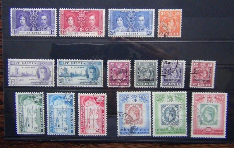 St Lucia 1937 Coronation 1946 Victory 1951 Constitution 1958 Caribbean etc Used
