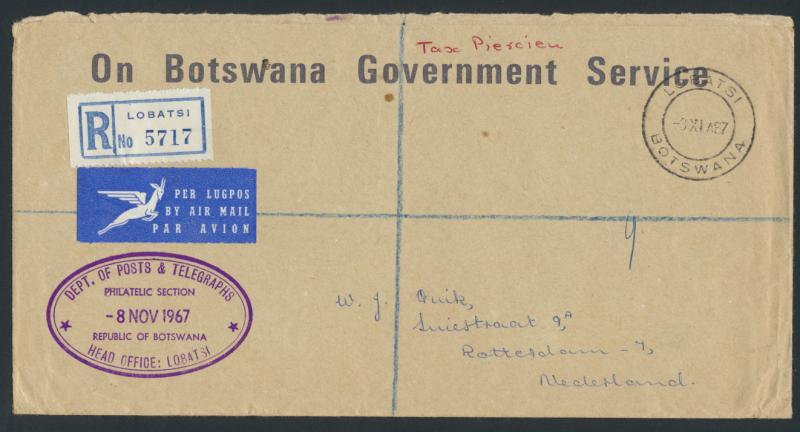 Botswana - On Government Service Registered Envelope  SPECIAL - Air mail plea...