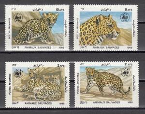 Afghanistan, Scott cat. 1172-1175. Leopards on W.W.F. issue.