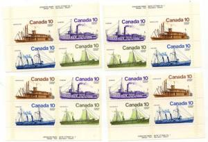 Canada - 1976 10c Inland Vessels Plate Blocks mint #700-703