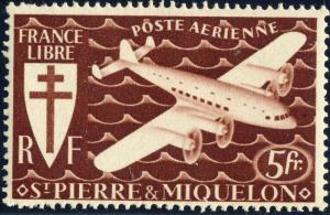SAINT-PIERRE-&-MIQUELON - 1942 - Yv.PA6 / Mi.319 5fr brun-noir - Mint*
