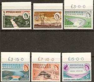 1960 Rhodesia & Nyasaland Scott 172-177 Kariba Gorge MNH