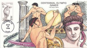 COLLINS HAND PAINTED FDC Sc# 3087 Centennial Olympics 1996 First Day Issue