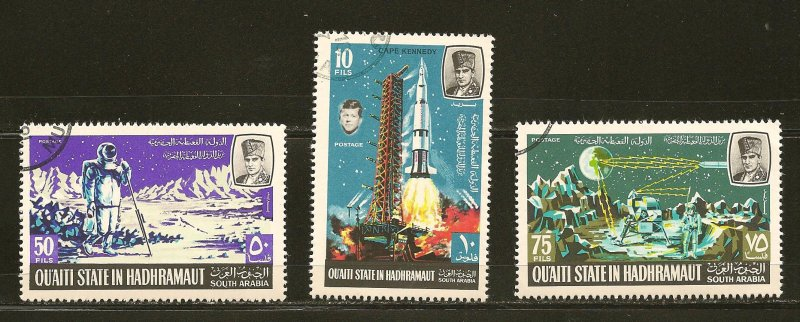 South Arabia Lot of 3 Moon Walk Space Stamps CTO