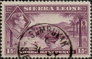 SIERRA LEONE - 1940s -  SUMBUYAH  code C CDS on SG190a 1-1/2d mauve