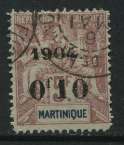 Martinique 1904 overprinted 10 centimes on 5 francs used