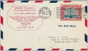 60141 - USA -  INAUGURATION Flight COVER: APPLETON, WIS  -  AMC: 9 E11   ROSE!