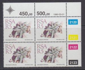 South Africa, Scott 753, MNH blocks of four