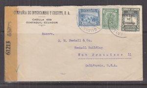 ECUADOR, c1942 Censored cover, Guayaquil to USA, 5c.(2), 50c.