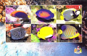 Stamps of BIOT 2021  - Angel Fish with 6 brands. Full sheet.