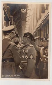 1937 BW Hoffman postcard Hitler and Mussolini Cover RPPC