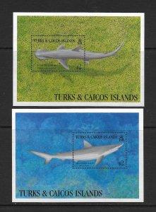 SHARKS  - TURKS & CAICOS ISLANDS #1063-4  BONNETHEAD & SHARPNISE SHARKS   MNH