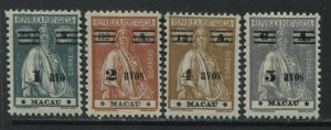 Macao 1933 4 overprints with new values mint o.g. hinged