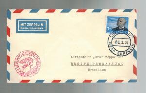 1934 Germany Graf Zeppelin Cover South America Flight LZ 127 to Brazil # C56