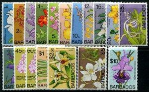 HERRICKSTAMP BARBADOS Sc.# 396-411 Orchids NH Stamps Cat. Value $51.00