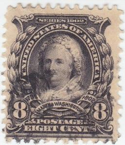 Scott #306 - 8c Violet Black - Martha Washington - Used -SCV - $3.50