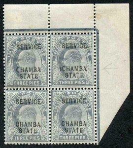 Chamba SG23 KEVII 3p Block inc ICHAMBA VARIETY U/M Stated from the 1908 Printing