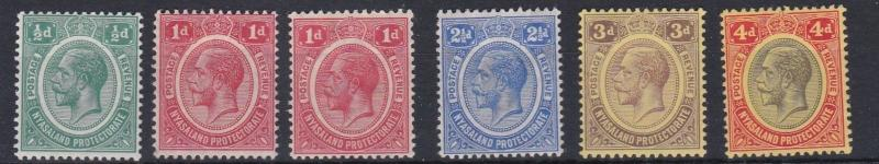 NYASALAND  1913 - 21  S G  83 - 91A  VALUES TO  4D  MH  SOME OLD HINGE REMAINS