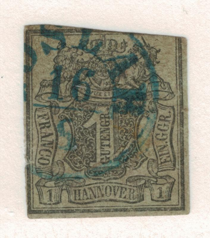 Hannover (German State) Stamp Scott #2, Used, Cut Corner - Free U.S. Shipping...