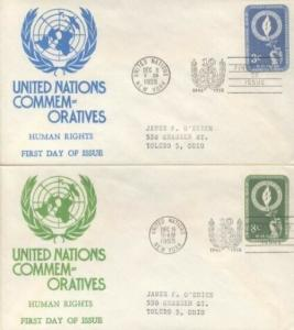 UN #39/40 HUMAN RIGHTS 1955 - Anderson set of 2