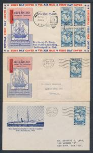 #733 ON FIRST DAY COVER CACHET BY IOOR (2x) & GORHAM (1x) BT6619