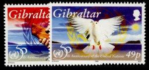 GIBRALTAR QEII SG754-755, 1995 anniv of U.N set, NH MINT.