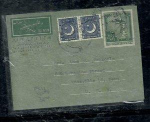 PAKISTAN COVER (P0806B) 1953 6A AEROGRAM AIRPLANE+1 A CRESCENT PR SENT TO USA