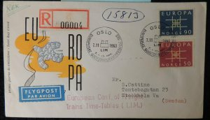 Norway 1963 FDC europa doves birds registered airmail to stockholme postal