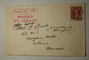 Canada Ship Cover Censor HMC Signed Mail Cover Sc# 233 Used