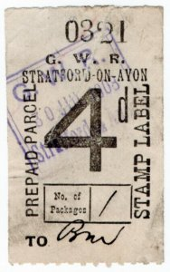 (I.B) Great Western Railway : Prepaid Parcel 4d (Stratford-on-Avon)