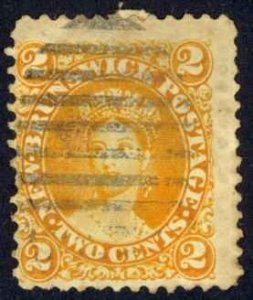 Canada New Brunswick Sc# 7 Used (b) 1860 2¢ orange Queen Victoria