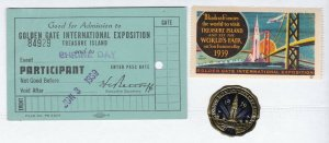 US 1939 Golden Gate Exposition Treasure Island Ticket, Poster & Foil Stamp (832)