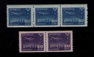 MNH SC C6-C7 SWEDEN NIGHT MAIL AEROPLANE OVER STOCKHOLM 1 PAIR + STRIP OF (3) VF