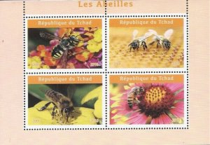 Chad - 2019 Bees on Stamps - 4 Stamp Sheet - 3B-736