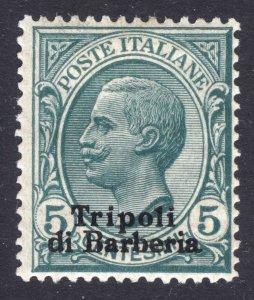 Italy Offices in Africa Tripoli 1907 5c Green Wmk Crown Scott 4 LMM/MLH Cat $140
