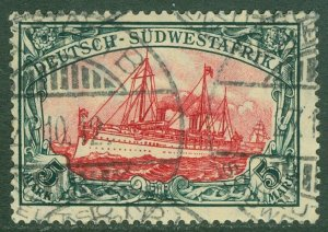 EDW1949SELL : GERMAN SW AFRICA 1906 Sc #34 VF, Used Choice stamp Signed Cat $300